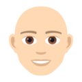 Man: Light Skin Tone, Bald on JoyPixels 5.0