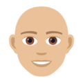 Man: Medium-Light Skin Tone, Bald on JoyPixels 5.0
