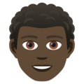 Man: Dark Skin Tone, Curly Hair on JoyPixels 5.0