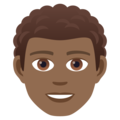 Man: Medium-Dark Skin Tone, Curly Hair on JoyPixels 5.0