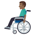 Man in Manual Wheelchair: Medium-Dark Skin Tone on JoyPixels 5.0