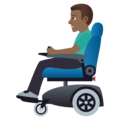 Man in Motorized Wheelchair: Medium-Dark Skin Tone on JoyPixels 5.0