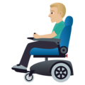 Man in Motorized Wheelchair: Medium-Light Skin Tone on JoyPixels 5.0