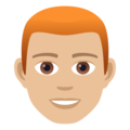 Man: Medium-Light Skin Tone, Red Hair on JoyPixels 5.0