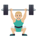 Man Lifting Weights: Medium-Light Skin Tone on JoyPixels 5.0