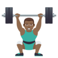 Man Lifting Weights: Medium-Dark Skin Tone on JoyPixels 5.0