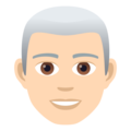 Man: Light Skin Tone, White Hair on JoyPixels 5.0