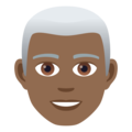 Man: Medium-Dark Skin Tone, White Hair on JoyPixels 5.0