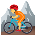 Person Mountain Biking on JoyPixels 5.0