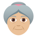 Old Woman: Medium-Light Skin Tone on JoyPixels 5.0