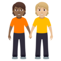 People Holding Hands: Medium-Dark Skin Tone, Medium-Light Skin Tone on JoyPixels 5.0