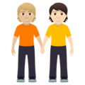 People Holding Hands: Medium-Light Skin Tone, Light Skin Tone on JoyPixels 5.0