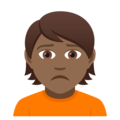 Person Frowning: Medium-Dark Skin Tone on JoyPixels 5.0