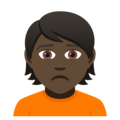 Person Frowning: Dark Skin Tone on JoyPixels 5.0