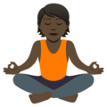 Person in Lotus Position: Dark Skin Tone on JoyPixels 5.0