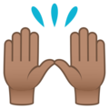 Raising Hands: Medium Skin Tone on JoyPixels 5.0