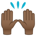 Raising Hands: Medium-Dark Skin Tone on JoyPixels 5.0
