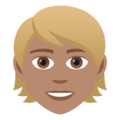 Person: Medium Skin Tone, Blond Hair on JoyPixels 5.0