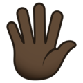 Hand With Fingers Splayed: Dark Skin Tone on JoyPixels 5.0