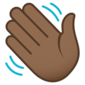 Waving Hand: Medium-Dark Skin Tone on JoyPixels 5.0