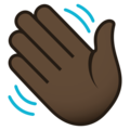 Waving Hand: Dark Skin Tone on JoyPixels 5.0
