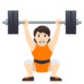 Person Lifting Weights: Light Skin Tone on JoyPixels 5.0
