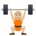 Person Lifting Weights: Medium-Light Skin Tone on JoyPixels 5.0
