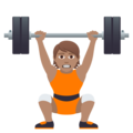 Person Lifting Weights: Medium Skin Tone on JoyPixels 5.0