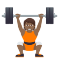 Person Lifting Weights: Medium-Dark Skin Tone on JoyPixels 5.0