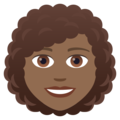 Woman: Medium-Dark Skin Tone, Curly Hair on JoyPixels 5.0
