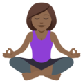 Woman in Lotus Position: Medium-Dark Skin Tone on JoyPixels 5.0