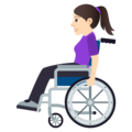 Woman in Manual Wheelchair: Light Skin Tone on JoyPixels 5.0
