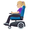 Woman in Motorized Wheelchair: Medium-Light Skin Tone on JoyPixels 5.0