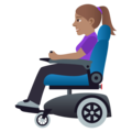 Woman in Motorized Wheelchair: Medium Skin Tone on JoyPixels 5.0