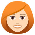 Woman: Light Skin Tone, Red Hair on JoyPixels 5.0