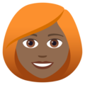 Woman: Medium-Dark Skin Tone, Red Hair on JoyPixels 5.0