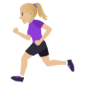Woman Running: Medium-Light Skin Tone on JoyPixels 5.0