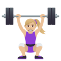 Woman Lifting Weights: Medium-Light Skin Tone on JoyPixels 5.0