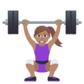Woman Lifting Weights: Medium Skin Tone on JoyPixels 5.0