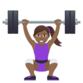 Woman Lifting Weights: Medium-Dark Skin Tone on JoyPixels 5.0