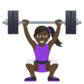 Woman Lifting Weights: Dark Skin Tone on JoyPixels 5.0