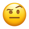 Face with Raised Eyebrow on Emojipedia 11.1