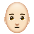 Man: Light Skin Tone, Bald on Emojipedia 11.1