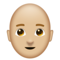 Man: Medium-Light Skin Tone, Bald on Emojipedia 11.1