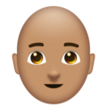 Man: Medium Skin Tone, Bald on Emojipedia 11.1