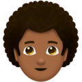 Man: Medium-Dark Skin Tone, Curly Hair on Emojipedia 11.1