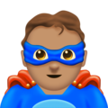 Man Superhero: Medium Skin Tone on Emojipedia 11.1