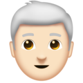 Man: Light Skin Tone, White Hair on Emojipedia 11.1