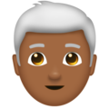 Man, White Haired: Medium-Dark Skin Tone on Emojipedia 11.1