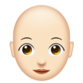 Woman, Bald: Light Skin Tone on Emojipedia 11.1
